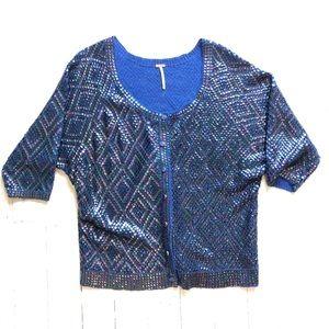 FREE PEOPLE Short Sleeve Blue Sequin Cardigan